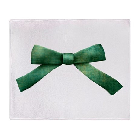 Green Bow Tie Throw Blanket