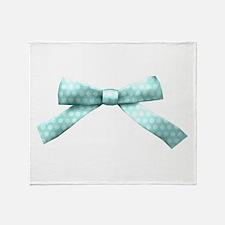 Light Blue Polka Dot Bow Throw Blanket
