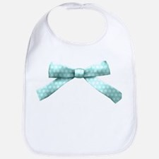 Light Blue Polka Dot Bow Bib
