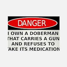 Armed Unmedicated Doberman Warning Sign Shirt Rect