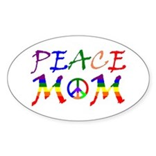 Rainbow Peace Mom Oval Decal