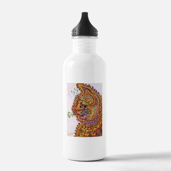 Louis Wain Vintage Fantasy Cat Wallpaper Water Bottle