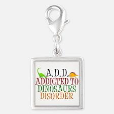 Funny Dinosaur Silver Square Charm