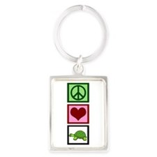 Peace Love Turtles Portrait Keychain