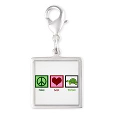 Peace Love Turtles Silver Square Charm
