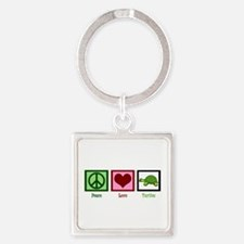 Peace Love Turtles Square Keychain
