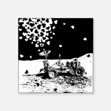 "Lunar Rover Of Love Grey Square Sticker 3"" x 3"""