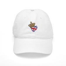 Royal Crown Union Jack Heart Flag Baseball Cap