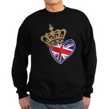 Royal Crown Union Jack Heart Flag Sweatshirt