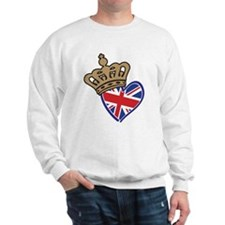 Royal Crown Union Jack Heart Flag Sweatshirt