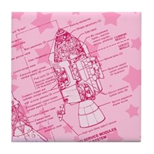 Pink Space Capsule Tile Coaster