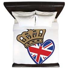 Royal Crown Union Jack Heart Flag King Duvet