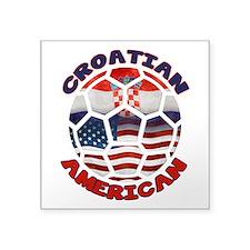 Croatian American Soccer Fan Square Sticker 3&quot