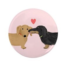 "Dachshund Smooch 3.5"" Button (100 pack)"