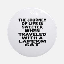Traveled With laperm Cat Round Ornament