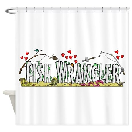 Fish Wrangler Logo Shower Curtain