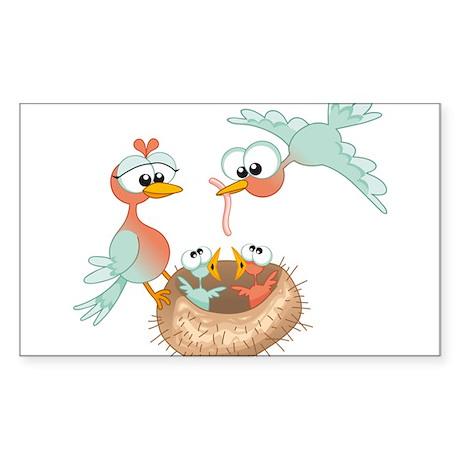 Bird Family Sticker (Rectangle)
