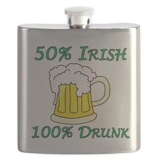 50% Irish 100% Drunk Flask
