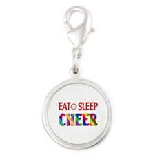Eat Sleep Cheer Silver Round Charm