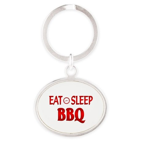 Eat Sleep BBQ Oval Keychain