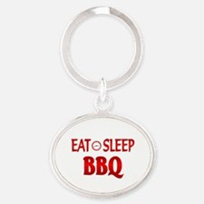 Eat Sleep BBQ Oval Keychain