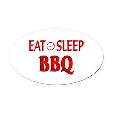 Eat Sleep BBQ Oval Car Magnet