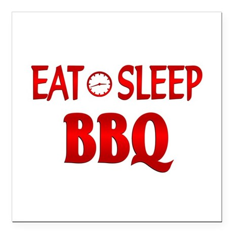 "Eat Sleep BBQ Square Car Magnet 3"" x 3"""