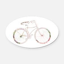 Floral Vintage Bicycle Oval Car Magnet