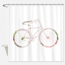 Floral Vintage Bicycle Shower Curtain