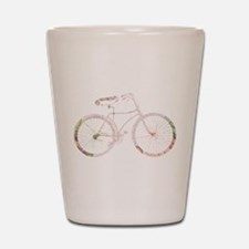Floral Vintage Bicycle Shot Glass