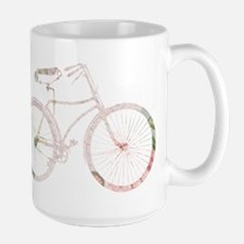 Floral Vintage Bicycle Large Mug