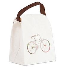 Floral Vintage Bicycle Canvas Lunch Bag