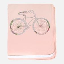 Floral Vintage Bicycle baby blanket