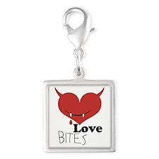Love Bites Silver Square Charm