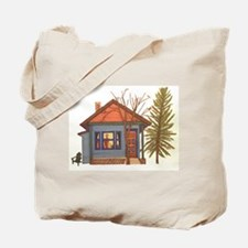 Drawn Home: Little Blue Cabin by Baya Tote Bag