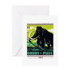 Woolly Mammoth Czechoslovakian Matchbox Label Gree