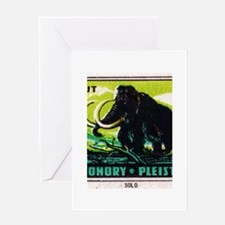 Woolly Mammoth Czechoslovakian Matchbox Label Gree