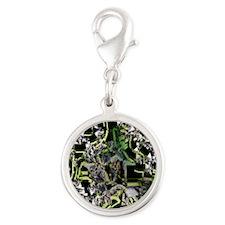 Night Star Flower Silver Round Charm