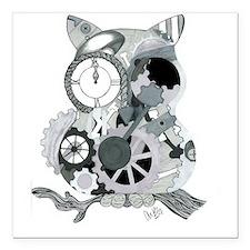 "Clockwork Owl Square Car Magnet 3"" x 3"""