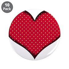 """Polka Dot Heart 3.5"""" Button (10 pack)"""