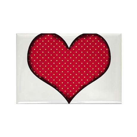 Polka Dot Heart Rectangle Magnet (100 pack)
