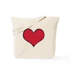 Polka Dot Heart Tote Bag