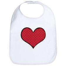 Polka Dot Heart Bib
