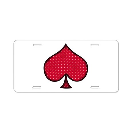 Polka Dot Spade Aluminum License Plate
