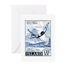 Antique 1955 Iceland Diver Postage Stamp Greeting