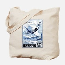 Antique 1955 Iceland Diver Postage Stamp Tote Bag