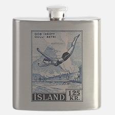 Antique 1955 Iceland Diver Postage Stamp Flask