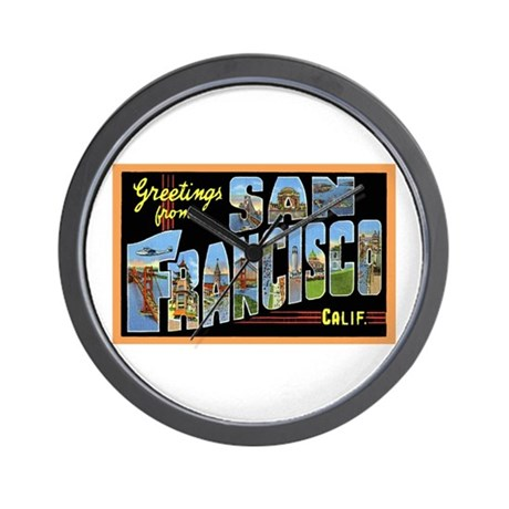 San Francisco California Greetings Wall Clock