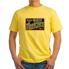 San Francisco California Greetings Yellow T-Shirt