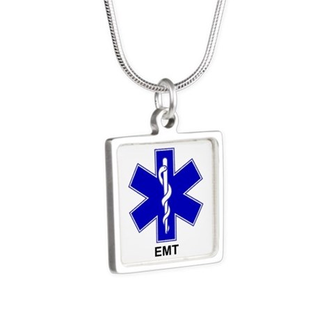 Blue Star of Life - EMT.png Silver Square Necklace